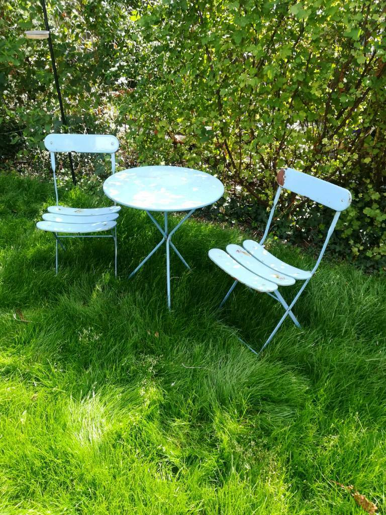 Garden patio bistro table & chairs set collapsible foldable for ...