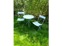 Garden patio bistro table & chairs set collapsible foldable for storage vintage look Parkstone Poole