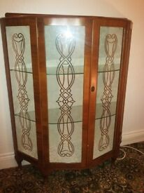 Glass fronted vintage china cabinet with rare design on doors. Has key! Dundonald area.