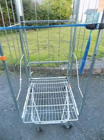 Large heavy duty 3 sided cage trolley