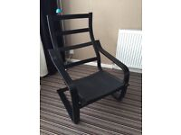 IKEA POANG BLACK/BROWN ARMCHAIR FRAME ONLY