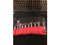 10pc stubby spanner set in roll mat size 10mm-19mm (tools)