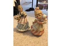 Two porcelain musical dolls