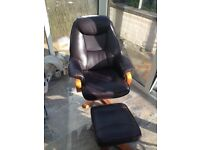 Leather brown chair and footstool