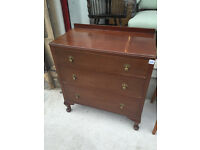 Vintage Chest of Drawers , with queen anne feet , 3 drawers .