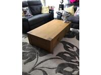 Very large solid oak coffee table with drawers