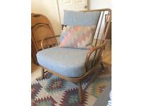 Retro Mid-Century Ercol Jubilee Armchair - Reupholstered in wool
