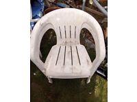 FREE - White Plastic Garden Chairs x 6