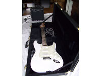 Squire strat by fender Electric guitar, case and Rocktronic 16 watt Amp