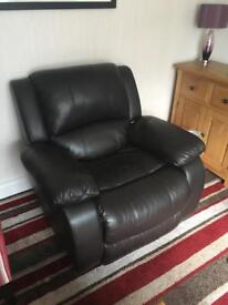 Recliner leather seat, very dark brown