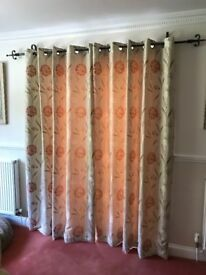Curtains, nearly new, agapanthus flower pattern.
