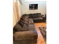 Massive! Corner sofa and chair. 11 large pillows and 7 long pillows