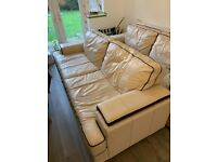URGENT NEED GONE, 2 CREAM LEATHER SOFA'S GOOD CONDITION WITH WEAR AND TEAR