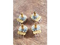CTS 500K Potentiometers, Split Brass shafts, x 4