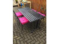 Quality Wrought Iron Garden Table & 4 Chairs