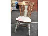 Large solid wood chair ready to be renovated