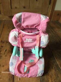 Baby doll car seat