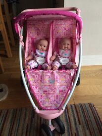 Baby Born Double Buggy with twin dolls and baby carrier