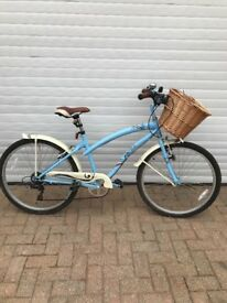 Ladies classic baby blue bike with basket, 6 gears, 18 inch frame, good condition