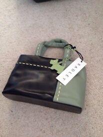Radley Leather Black/Green Vertical Stab Stitch Small Grab Bag
