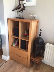 Modern solid oak unit with 2 drawers .In good condition cost £400 will accept £70