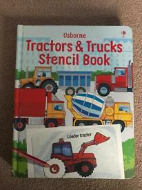 Book, tractors and trucks stencil book