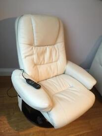 Massage and heat swivel chair with foot stool in cream faux leather