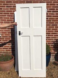 2 x interior 1930s solid pine painted wooden doors