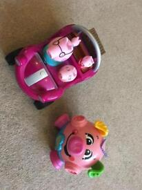 Kids peppa pig toy and fisher price pig