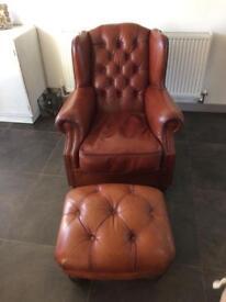 Beautiful Oskar Tetrad Tan Leather Chesterfield Wing back Chair