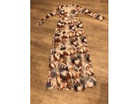 Gorgeous Lost Ink Horse Print Sheer Maxi Dress with Long Sleeves + Front Split - Size 6/34