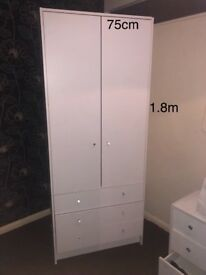 White Kids Wardrobe Cupboard With Drawers