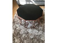 Marble and copper coffee table