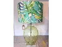 Retro Palm Leaf Lamp with Green Glass Base