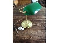Desk lamp. Perfect condition. Green glass on a gold stand.