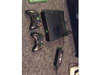 Xbox360 all genuine parts and cables. 2 genuine controllers + games. Hardly used