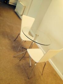 2 FAUX LEATHER DINING CHAIRS CHROME LEGS MODERN