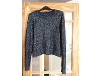Ladies black crop sparkly jumper