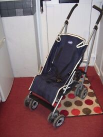 Chicco blue lay-back buggy