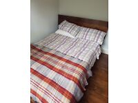 Beautiful Slatted Double Bed Frame in Solid Wood Grain and Mattress