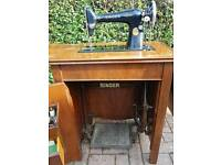 Singer Sewing Machine in Vintage Cabinet