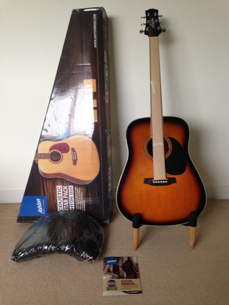 Brand new Ashton dreadnought acoustic guitar kit with gig bag, strap and online lessons - Bargain