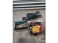 various spanners, metal tool box,burning torch,jump starts and transit jack