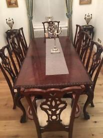Antique dining table 8 chairs