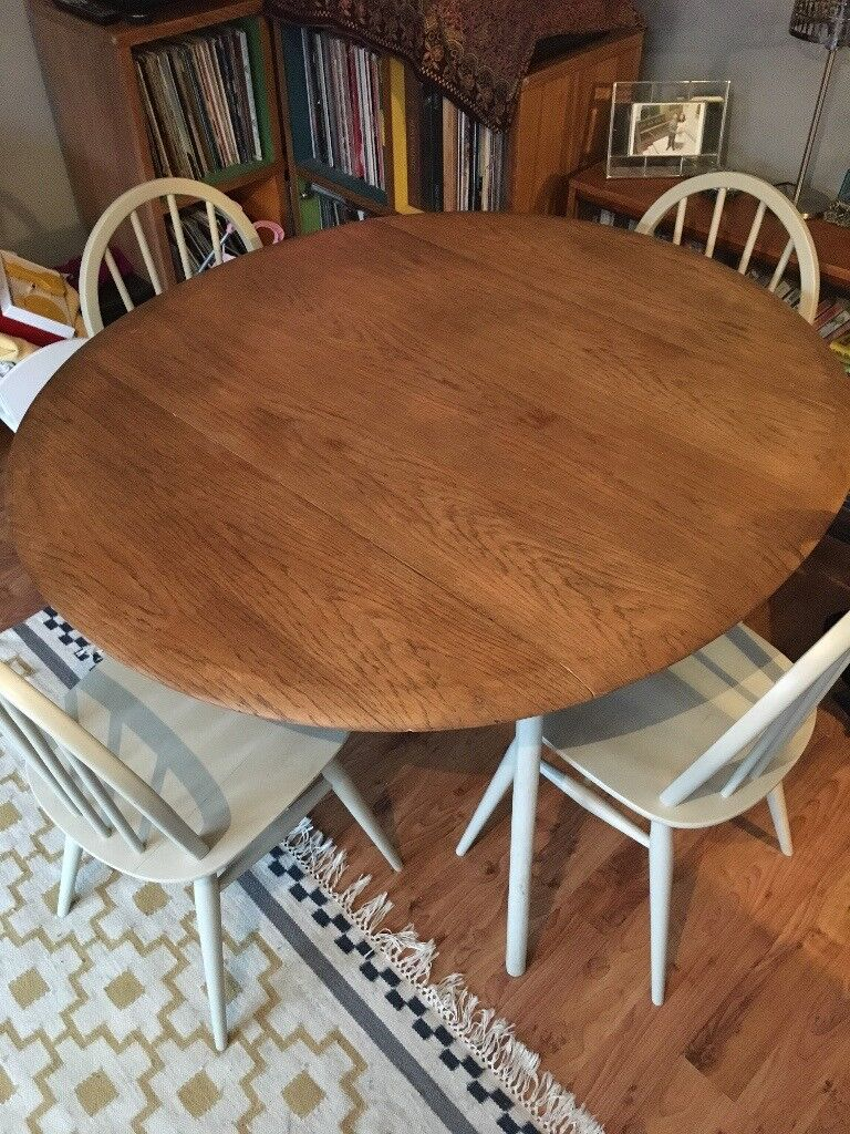 4 Ercol Dining Chairs and Ercol style Drop-Leaf Dining Table - Restored and used