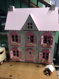 ELC Wooden Dolls House, Tree House, Horse Trailer, Bus and Ice Cream Van