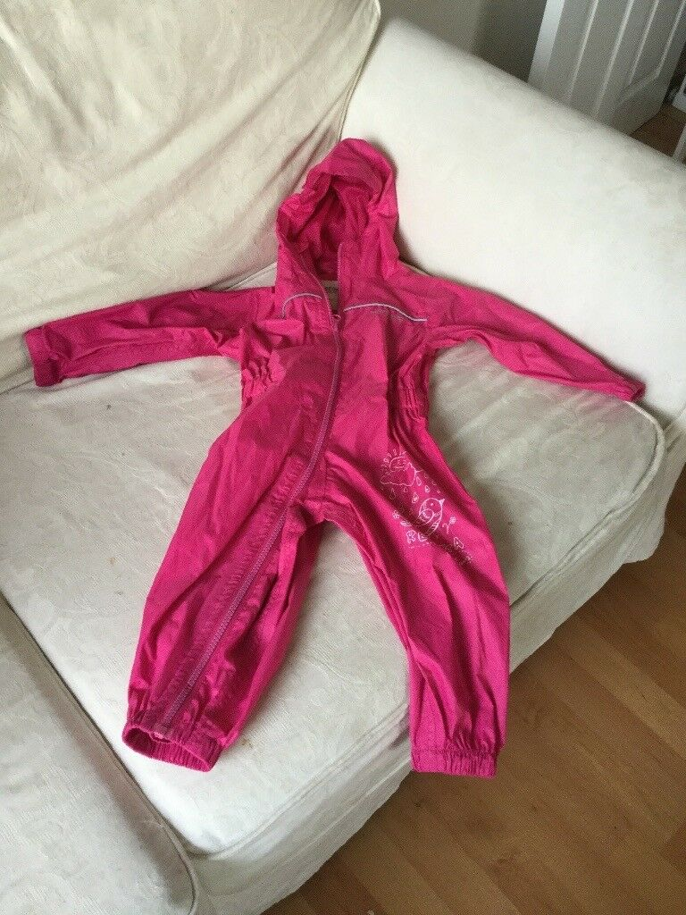 12-18 months regatta pink all in one puddle suit.