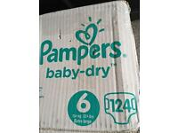 124 Pampers baby dry size 6 NEW boxed