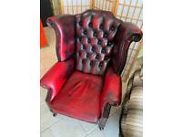 Vintage red leather winged back Chesterfield chair