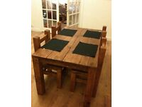 Handmade Chunky Rustic 5ft Dining Table and Chairs Light Oak Finish